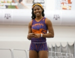 Aaliyah Brown after her win in the 200 Meter Dash at the Texas A&M Classic on Saturday. Photo Credit: Dwayne Pierre-Antoine
